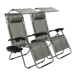 2PCS Zero Gravity Chair w Canopy Patio Sunshade Lounge Lawn Chair w Cup Holder