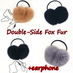Double side Full covered Large Real Fox w inner Fox Fur Earmuffs w Earphones