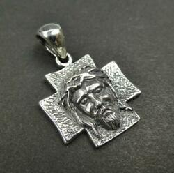 925 Sterling Silver Jesus Christ Crown of Thorns Textured Cross Charm Pendant