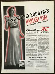 1937 American Radiator Company Print Ad Don't Supply Your Own Radiant Heat $12.69