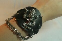 Adjustable Button Leather Bracelet with Metal Dragon and Chain Design $8.00