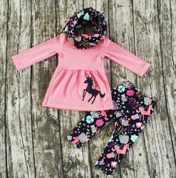 US Toddler Baby Girls Clothes Long Sleeve Tops Dress Floral Pants Outfits 2-7T