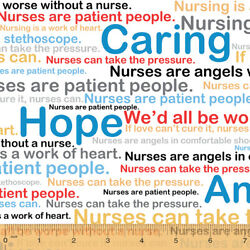 Cotton Nurses Medical Words Phrases Nursing Fabric Print BTY D370.40 $10.95