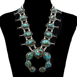 Navajo Turquoise Mountain Turquoise and Silver Squash Blossom Necklace c. 1950s