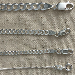 925 sterling silver Italian solid chain curb Cuban Mens Womens Necklace USA $12.99