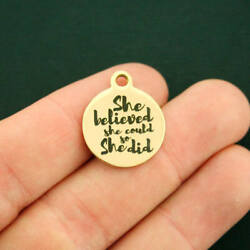 She Believed Gold Stainless Steel Charm - She Could So She Did - BFS2729GOLD