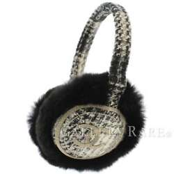 CHANEL Earmuff Tweed Orylag Rabbit Fur White Black CC Logo Authentic 5500376