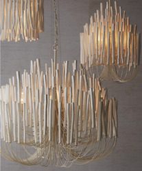 Horchow White Wood Chandelier NEW French Modern Transitional