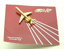 McDonnell Douglas MD 80 Super 80 Commercial Jet Plane 1980s Promo Pin New NOS