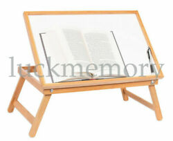 Adjustable Wood Bed Tray Lap Desk Serving Table Folding Legs Bamboo Food Dinner