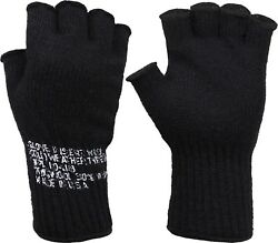 Black Tactical Fingerless Military Glove Liner Inserts Wool Gloves USA Made $10.99