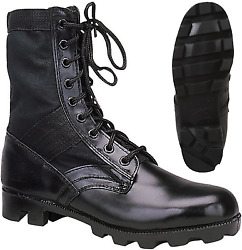 Black Leather Military Jungle Boots Panama Sole Tactical Combat Army Vietnam $34.99
