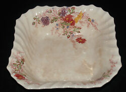 VINTAGE COPELAND SPODE FAIRY DELL PATTERN CHINA SQUARE SERVING BOWL DISH