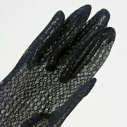 Vintage Ladies Dressy Gloves 6 Black Nylon Sheer Netting w Ruffle Wrist Cosplay