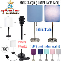 Table Lamp With Charging Outlet Fabric Shade Stick Desk Bedside Office Bedroom