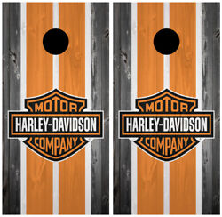 Harley Davidson Wood 2 Cornhole Board Wraps Skins Vinyl Laminated HIGH QUALITY!