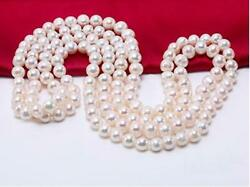 Genuine 9-10mm Round White Freshwater Pearl Endless Women Long Necklace 48