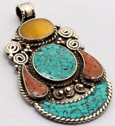 ZG2898 Turquoise Red Coral 925 Silver Plated Nepal Tribal Pendant 2.7
