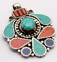 ZG2900 Lapis Turquoise Coral 925 Silver Plated Nepal Tribal Pendant 2.2