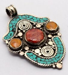 ZG2896 Turquoise Red Coral 925 Silver Plated Nepal Tribal Pendant 2.7