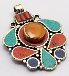 ZG2893 Lapis Turquoise Coral 925 Silver Plated Nepal Tribal Pendant 2.2