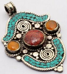 ZG2894 Turquoise Red Coral 925 Silver Plated Nepal Tribal Pendant 3