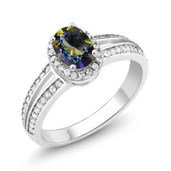 1.55 Ct Oval Blue Mystic Topaz 925 Sterling Silver Ring