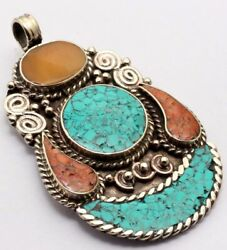 ZG2878 Turquoise Red Coral 925 Silver Plated Nepal Tribal Pendant 2.7