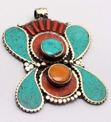 ZG2886 Turquoise Red Coral 925 Silver Plated Nepal Tribal Pendant 2.5