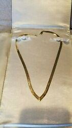 14kt Solid Yellow Gold Herringbone Necklace