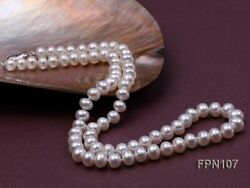Fashion 7-8mm Near-Round Natural White Freshwater Pearl Necklace Strand 18