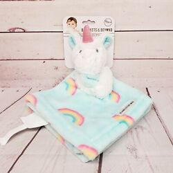 Blankets and Beyond 14x14 Unicorn Rainbows Blue Baby Lovey Security Blanket