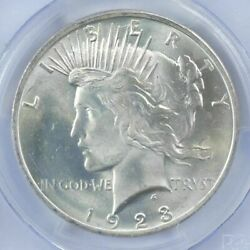 1 BU $1 1923 Peace Silver Dollar Dripping with luster Unc MS 90% Bulk amp; Save $37.97