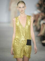 REED KRAKOFF Plunging Gold Mesh Metal Chain Mail Dress  2  4