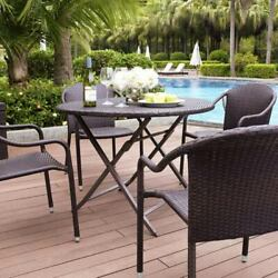 Crosley Furniture Palm Harbor Brown Outdoor Wicker Folding Table - CO7205-BR