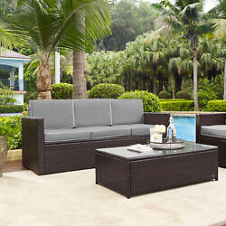 Crosley Furniture Palm Harbor Outdoor Wicker Sofa in Brown With Grey Cushions