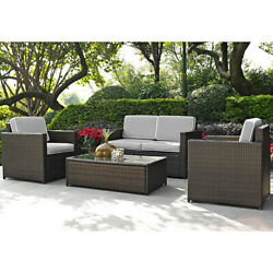 Palm Harbor 4 Piece Outdoor Wicker Seating Set With Grey Cushions - Loveseat