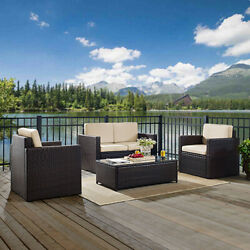 Palm Harbor 4 Piece Outdoor Wicker Seating Set With Sand Cushions - Loveseat