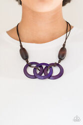 Paparazzi dramatic brown wooden beads purple wooden hoops Necklace w Earrings