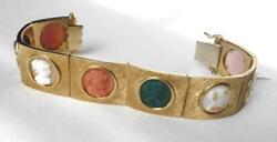 18k Hand Carved 8 Portrait Cameo Coral+Hardstone Agate+Shell Cuff Bracelet~58.5g