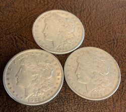 3 Complete Mint Set 1921 PDS Morgan Silver Dollar 90% Eagle  Last Year Issue