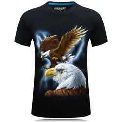 US NEW FASHION 3D PRINT BLACK EAGLE MENWOMEN SHORT T-SHIRT USA SHIPPING