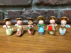6 VINTAGE PAINTED HANDMADE WOODEN CHRISTMAS ANGELS IN BOX - ITALY