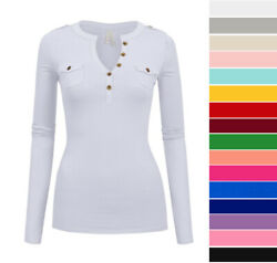 Women#x27;s Long Sleeve V Neck Henley Top Soft Stretch Cotton T Shirt Casual Basic $13.99