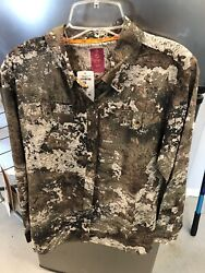 She Outdoor apparel Camo Stretch Top Green Brown Beige Logo Large With tag
