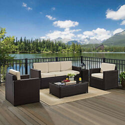 Palm Harbor 5-Piece Outdoor Wicker Sofa Conversation Set With Sand Cushions -
