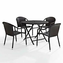 Crosley Furniture Palm Harbor Brown Five Piece Outdoor Cafe Dining Set