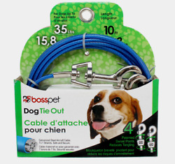 PDQ Boss Pet 10#x27; DOG TIE OUT Blue Silver Vinyl Coated Cable MEDIUM Dog 35lbs NEW $10.99