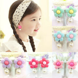 Candy Color Clip On Stud Earrings Fake Pearl Fashion Jewelry for Kids Teen Girls