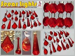 RED CHANDELIER BEADS GLASS CRYSTALS DROPS DROPLETS LIGHT VINTAGE WEDDING CHARMS GBP 34.99